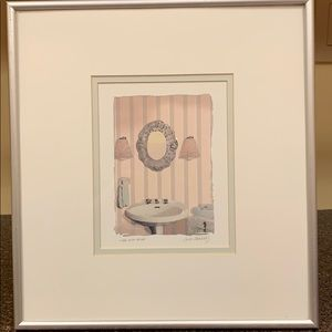 Watercolor print in double matted silver frame
